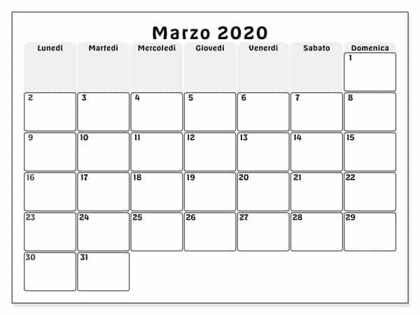 Formato Calendario Marzo 2020 Para Imprimir