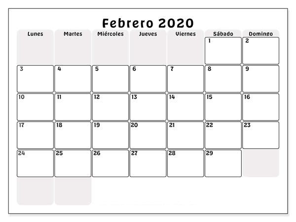 Gratis Calendario Febrero 2019 Argentina