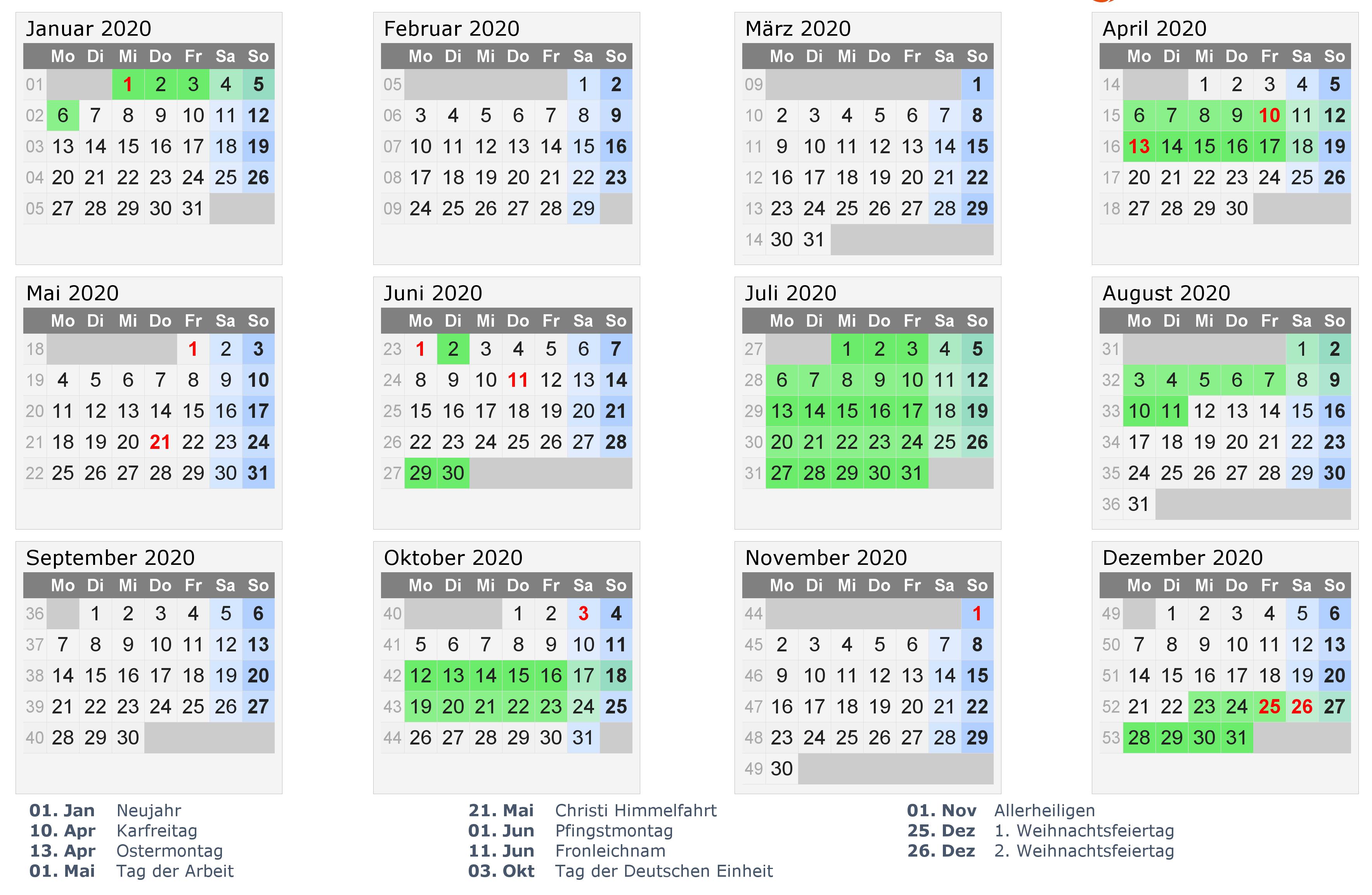 Kalender 2020 Druckbar
