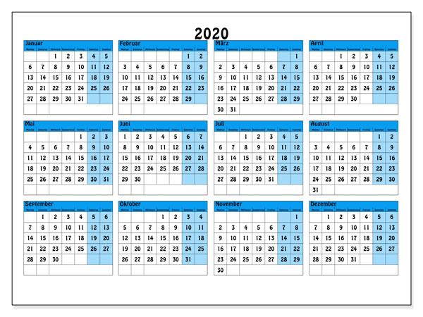 Kalender 2020 Excel