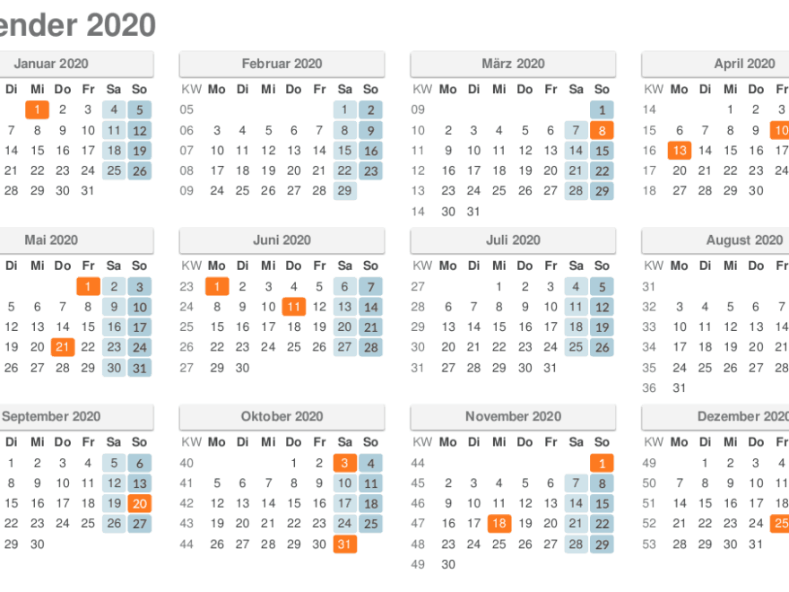 Kalender 2020 Kalenderwochen