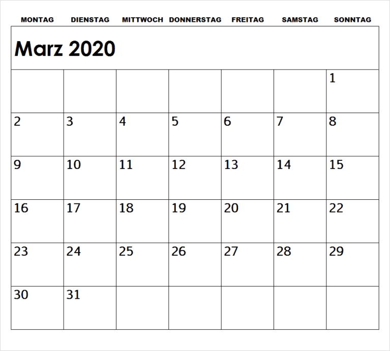 Kalender 2020 Marz Zum Ausdrucken