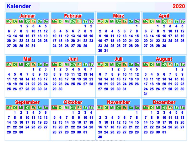 Kalender 2020 Word