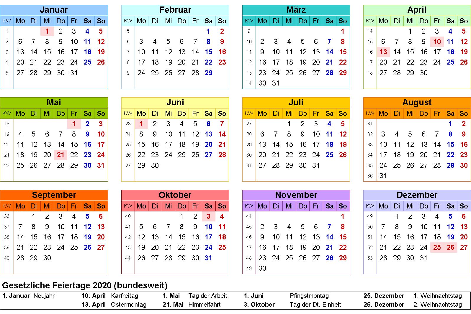 Kalender 2020 Zum Ausdrucken