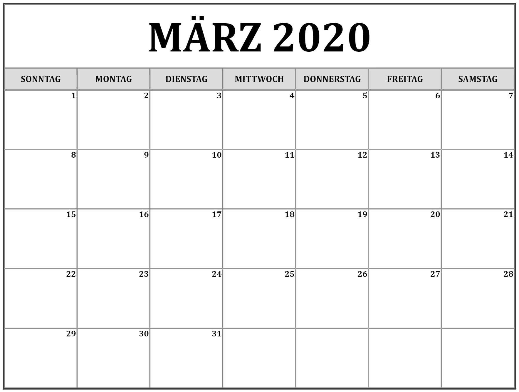 Kalender März 2020 Bild