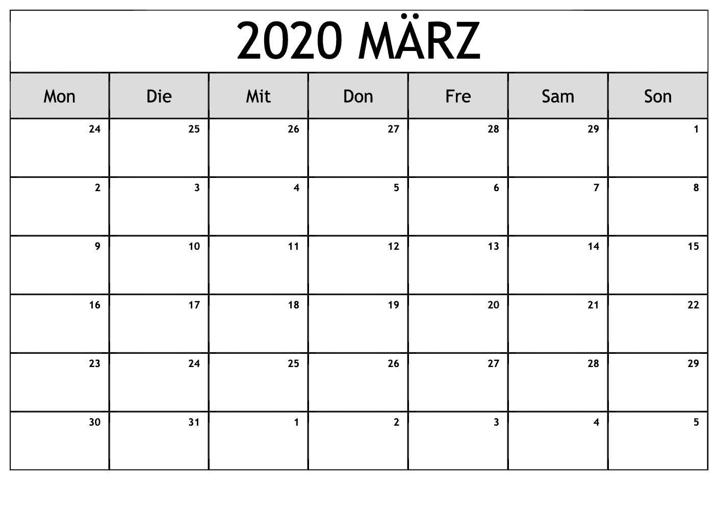 Kalender März 2020 Feiertage