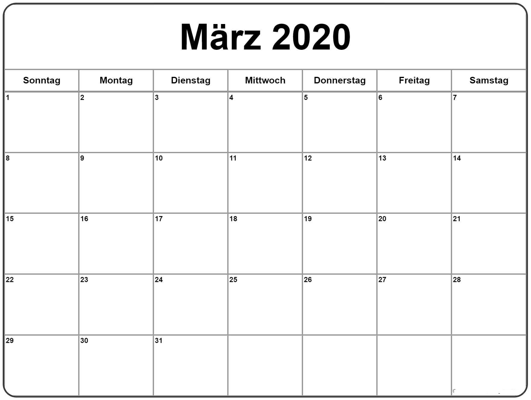 Kalender März 2020 Planer