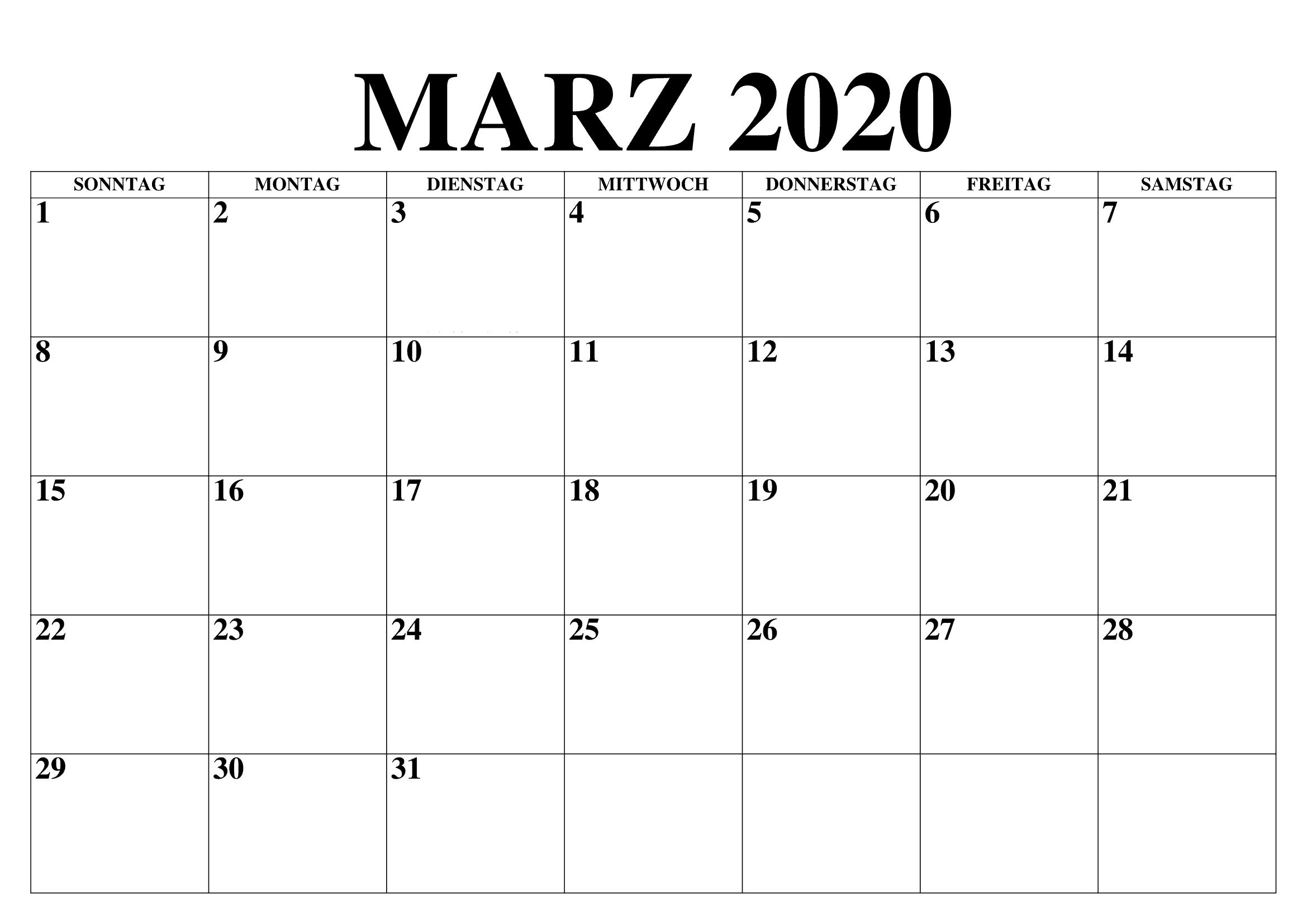 Kalender März 2020 Tabelle