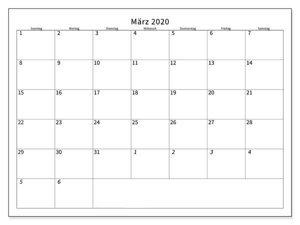Kalender März 2020 Zum Ausdrucken Anpassen