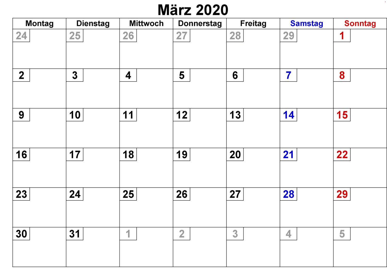 Kalender März 2020 Zum Ausdrucken Bild