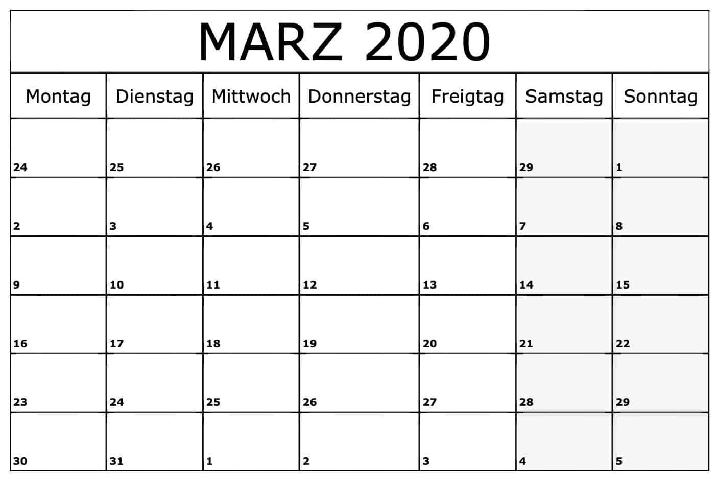 Kalender März 2020 Zum Ausdrucken Monats