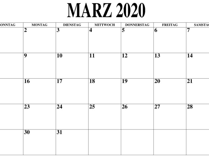 Kalender März 2020 Zum Ausdrucken Notizen