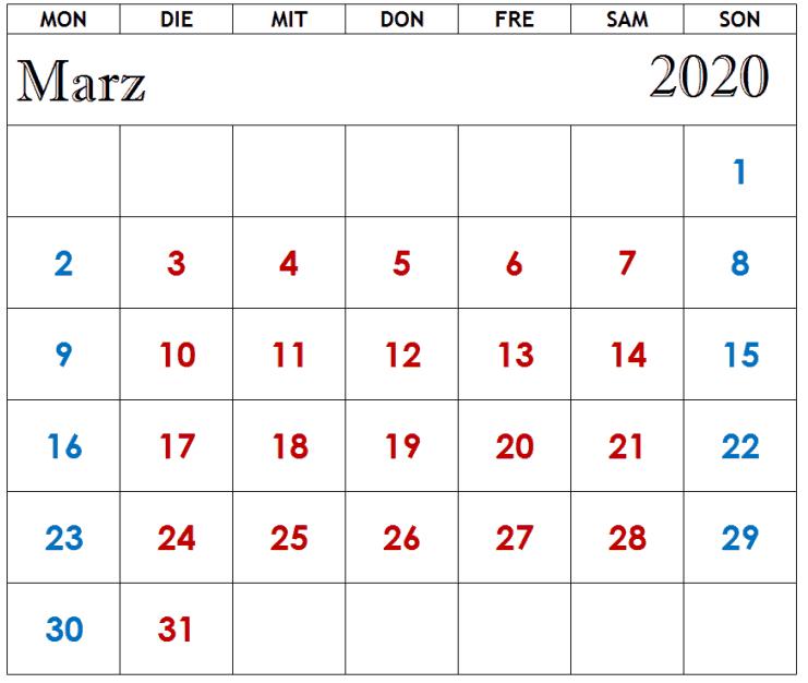 Kalender März 2020 Zum Ausdrucken Planer