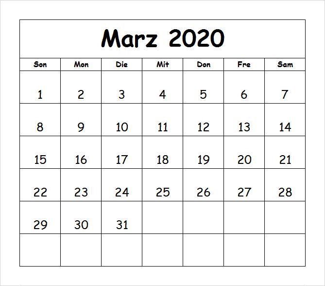 Kalender Marz 2020 Zum Ausdrucken