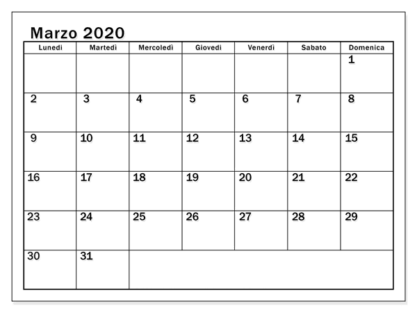 Modelo Calendario Marzo 2020