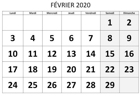 Table Calendrier Février 2020 À Imprimer Pdf, Excel, Word