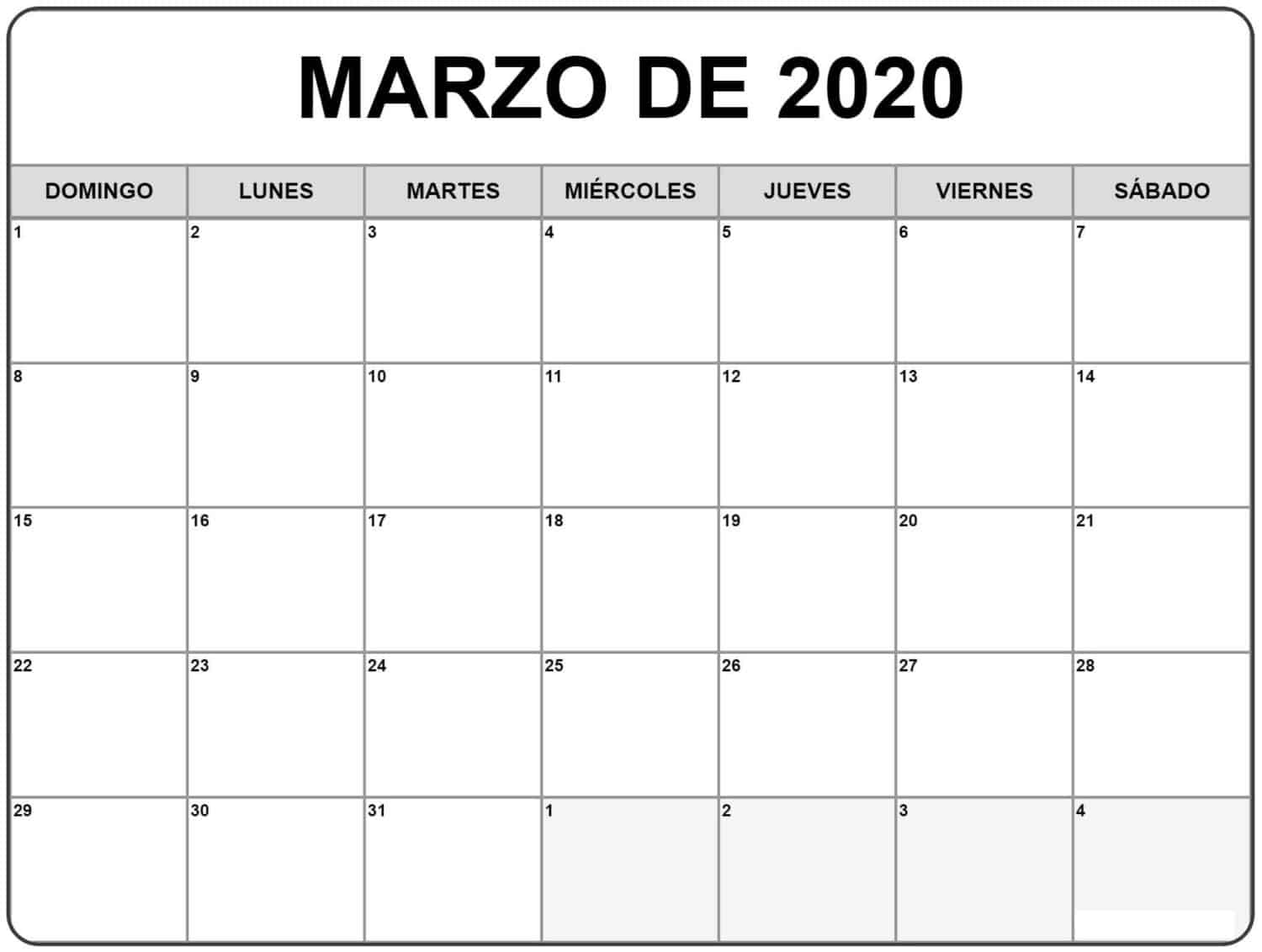 Titulo Calendario Marzo 2020 Chile