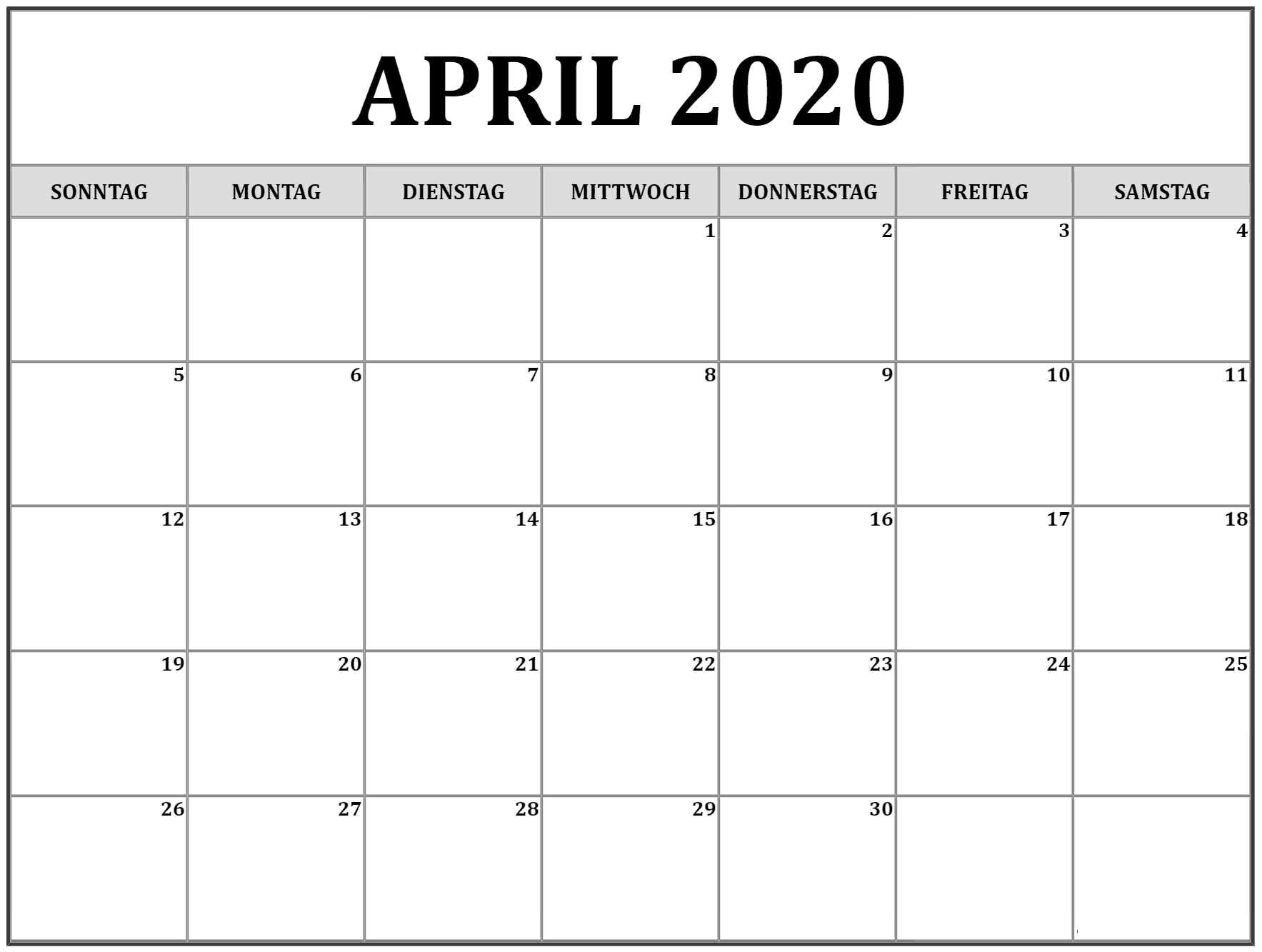 April 2020 kalender PNG