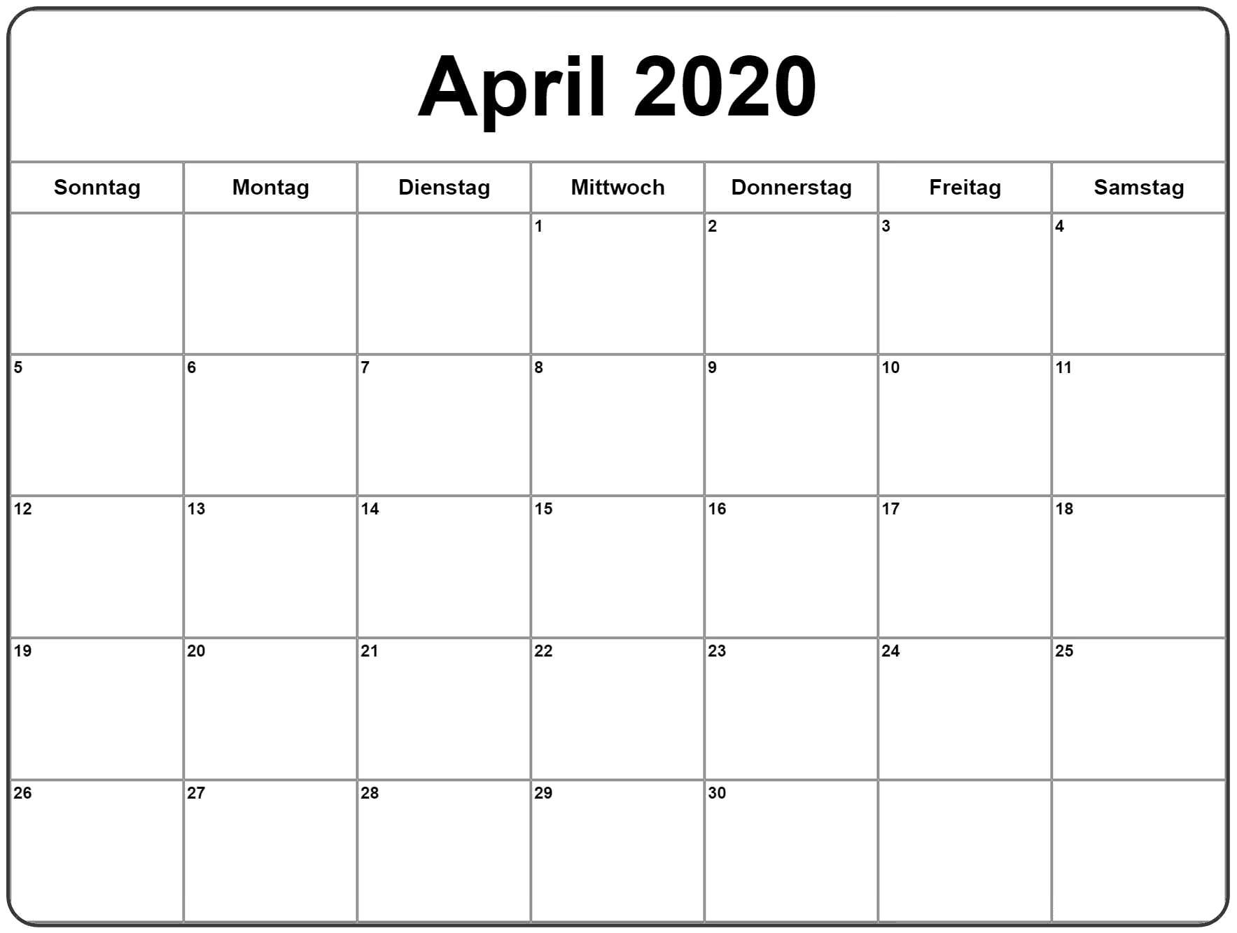 April 2020 kalender