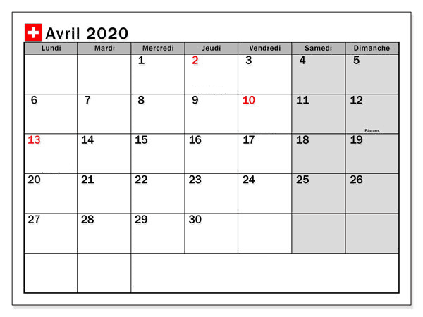 Blanc Calendrier Avril 2020