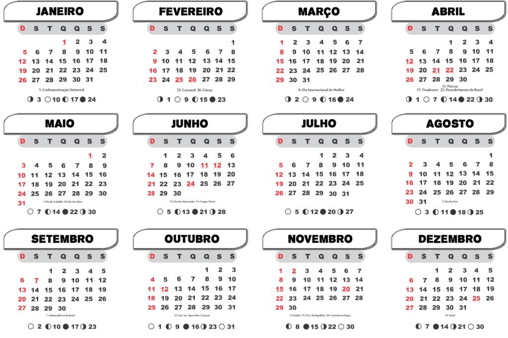 Calendário 2020 Feriados