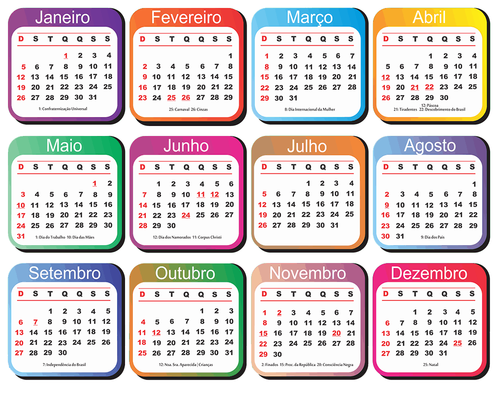 Calendário 2020 PDF