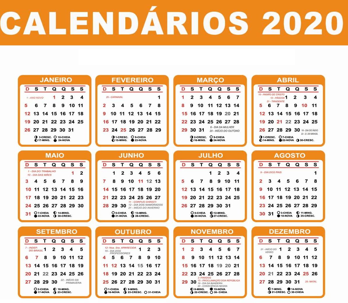 Calendário 2020 Word