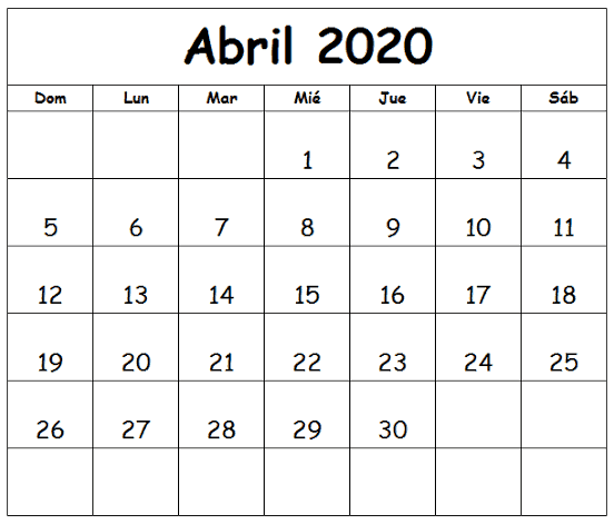 Calendário Abril 2020 Imprimir Gratuito