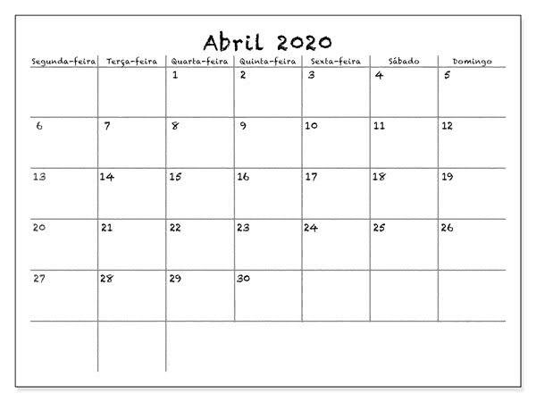Calendário Abril 2020 Imprimir Imagens