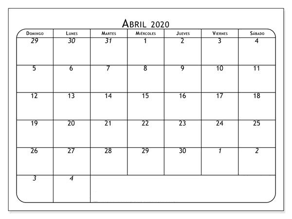 Calendário Abril 2020 Imprimir Título