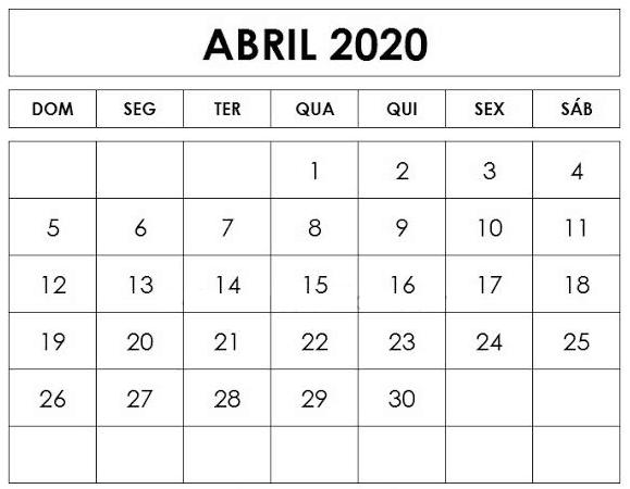 Calendário Abril 2020 Imprimir