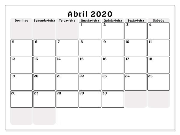 Calendário Gratuito Abril 2020 Mesa