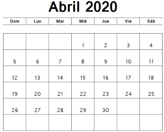 Calendário Gratuito Abril 2020 Notas