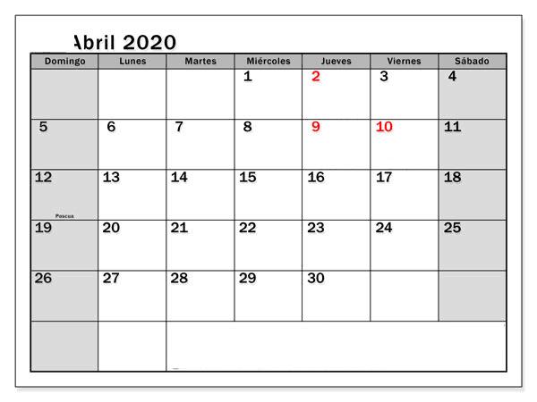 Calendario Abril 2020 Argentina