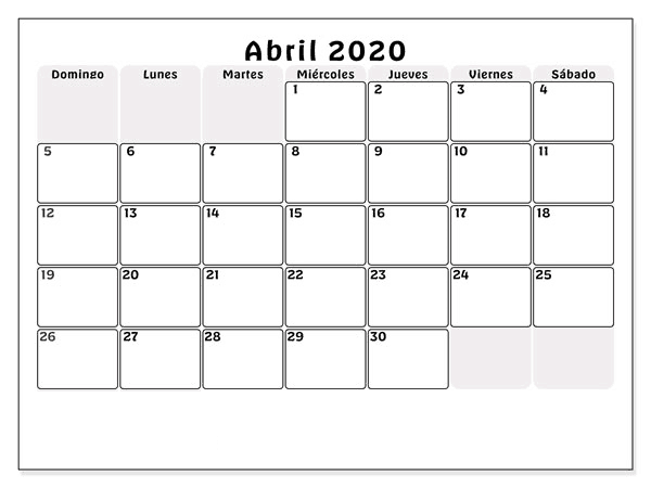 Calendario Abril 2020 Chile Editable