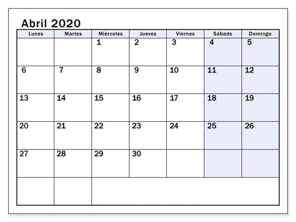 Calendario Abril 2020 Chile Formato