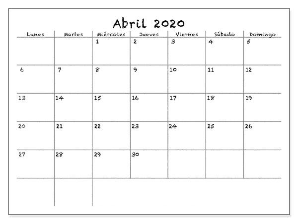 Calendario Abril 2020 Chile Mes