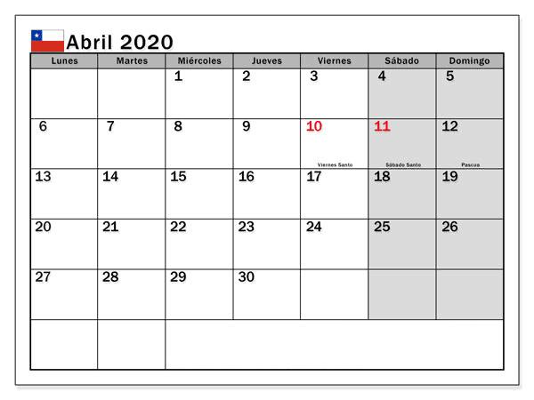 Calendario Abril 2020 Chile