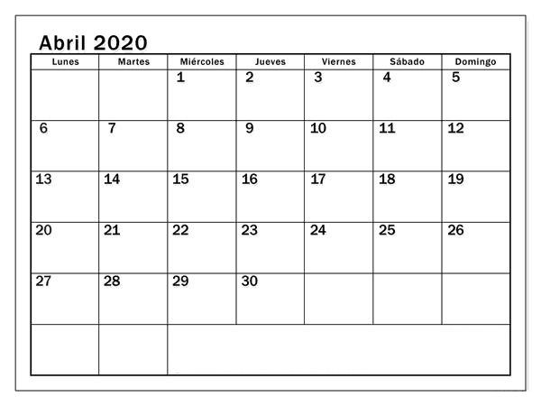 Calendario Abril 2020 Diseño