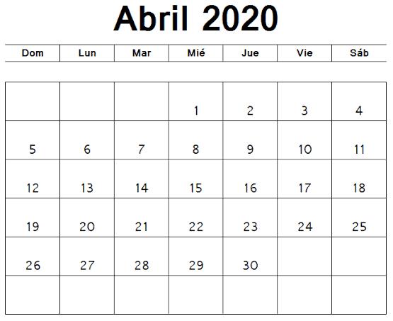 Calendario Abril 2020 Mensual