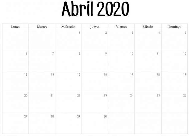 Calendario Abril 2020 Modelo