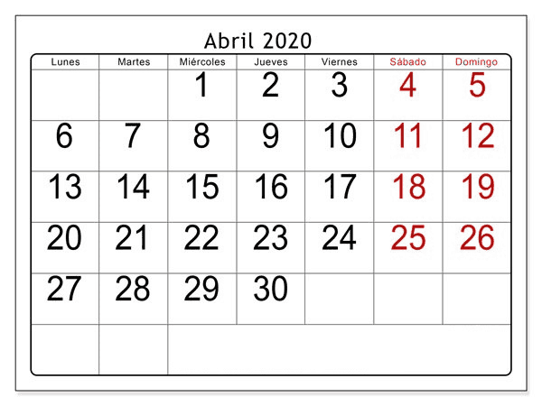 Calendario Abril 2020 Para Imprimir Formato