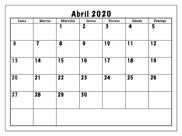 Calendario Abril 2020 Para Imprimir Grande
