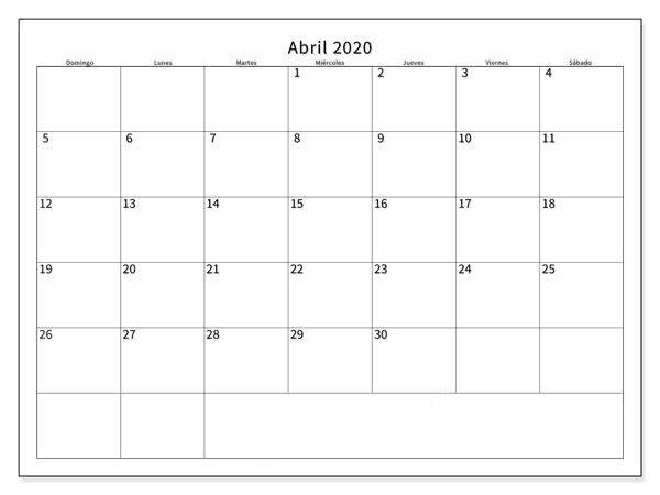 Calendario Abril 2020 Para Imprimir Mensual