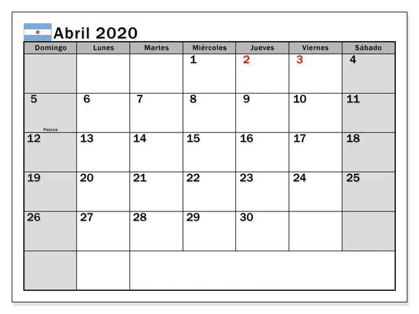 Calendario Abril 2020 Para Imprimir Vacaciones
