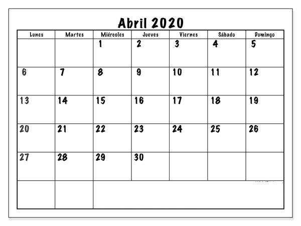Calendario Abril 2020 Profesional