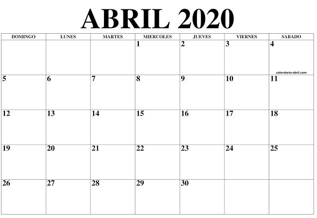 Calendario Abril 2020 Vacaciones