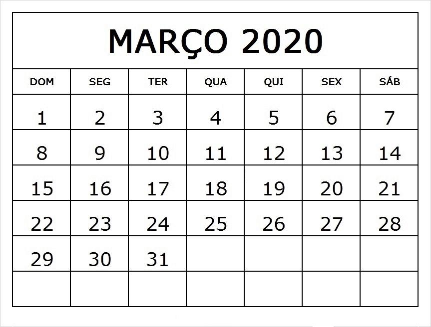 Calendario Março 2020 Para Imprimir