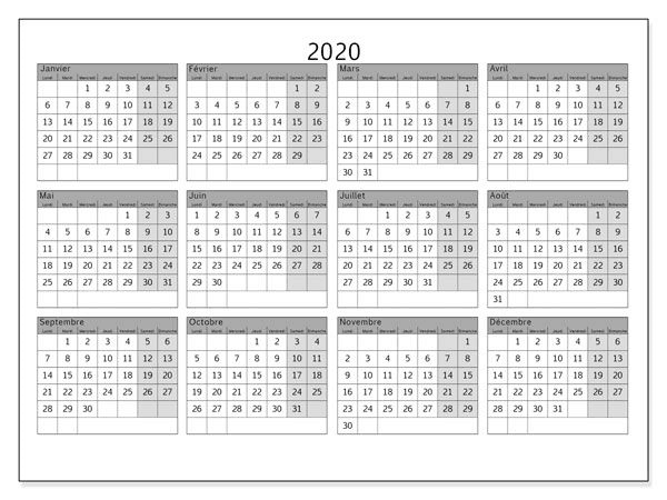Calendrier 2020 Blanc
