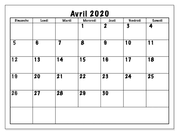 Calendrier Avril 2020 Avec